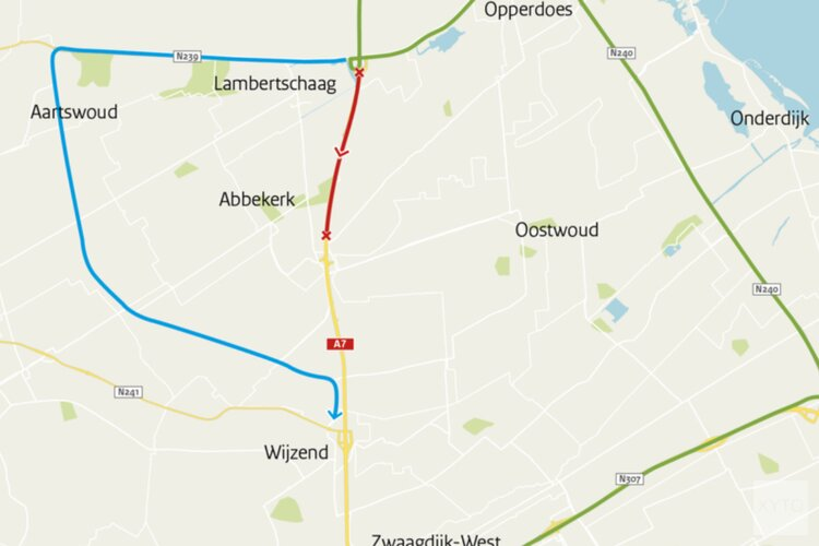 Groot onderhoud A7: nachtafsluitingen tussen Medemblik en Wognum 29 april tot 2 mei
